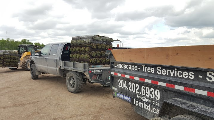 loading flat deck and dump trailer with sod
